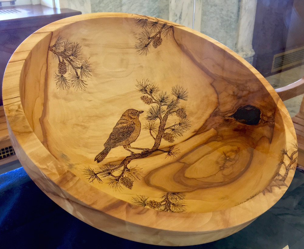 Bowl made from wood of trees removed for renovation of the Idaho State Capitol Building