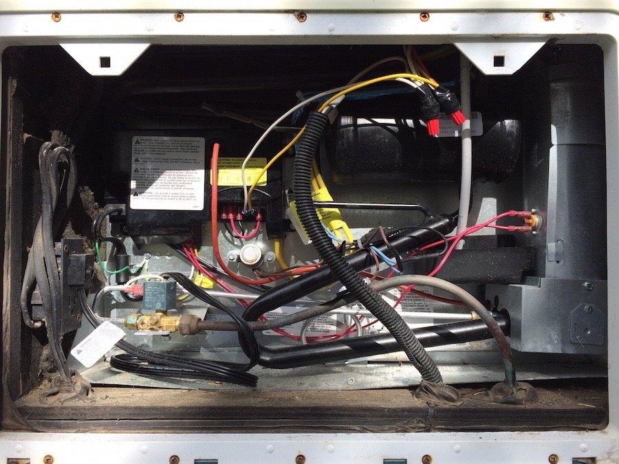 back of an RV fridge