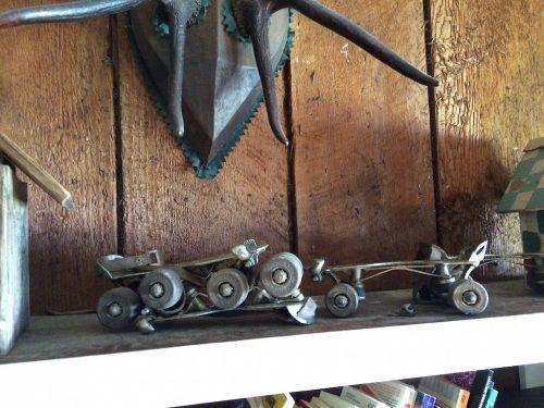 Old style roller skates on a shelf