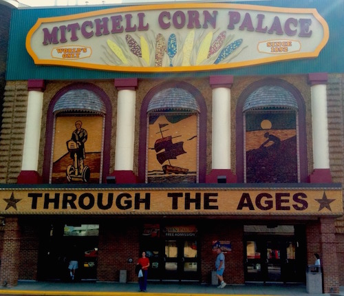 Me (in the red shirt) at the Corn Palace in Mitchell, South Dakota. All of the decoration is made from corn.